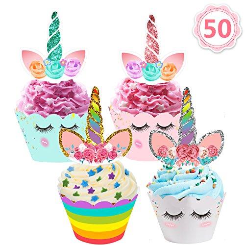 Mibote 50 Stücke Einhorn Mini Cupcake Toppers und Wrappers Verpackung Beidseitig Handmade für Kinder Party Kuchen Dekorationen Geburtstag Deko