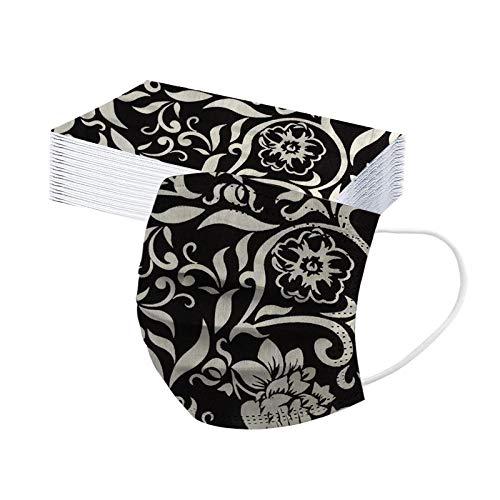 JMNy Erwachsene Mundschutz Multifunktionstuch, Einweg 3-lagig Vintage Blumen Gedruckt Maske, Staubdicht Atmungsaktive Vlies Mund-Nasenschutz Bandana Halstuch