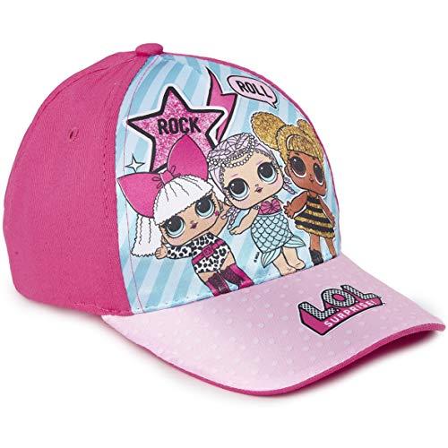 L.O.L. Surprise! Mädchen Premium Baseball Baseballmütze Kinder Sonnenhüte für den Sommer in Schwarz Rosa Blau Sparkly Glitter Einhorn Holographische Krempe (Dunkelpink)