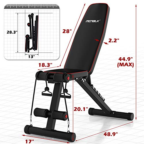 MCNBLK Adjustable Weight Bench 400lbs Capacity, Incline Decline Weight Lifting Workout Bench Home Gym, Multi-Position Utility Bench for Full Body Workout, Folding Dumbbells Bench with Elastic Ropes