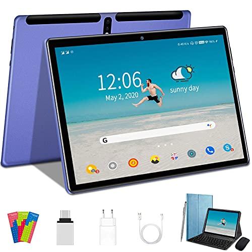 Tablet 4G LTE + WIFI con 10.1'' FHD, Android 10, 4GB RAM + 64GB ROM, 128GB Espandibili, Quad-Core, Batteria 8000mAh, Fotocamera 8MP, 1280 * 800,Dual SIM/GPS/Bluetooth/OTG-Blu