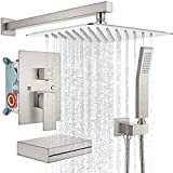 gotonovo Rain Mixer Shower Faucet Set with Waterfall Tub Spout Brushed Nickel 10 inch Square...