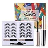 Hongik Ingun 10 Pair Magnetic Eyelashes with Eyeliner Natural Look Reusable False lashes eyeliner with Tweezers Waterproof Glue-Free for Women Makeup Gift, Upgraded