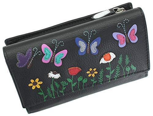 Mala Leather Sophia Collection Soft Leather Tri Fold Purse RFID 351442 Black