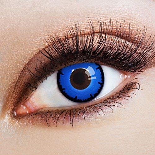 aricona Kontaktlinsen - Tiefblaue Kontaktlinsen Farblinsen ohne Stärke - Farbige Kontaktlinsen für Karneval, Fasching, Cosplay, 2 Stück