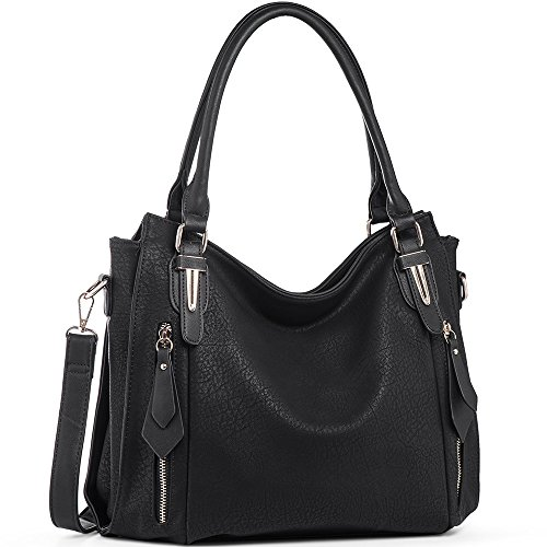 Handbags for Women Shoulder Tote Zipper Purse PU Leather Top-handle Satchel Bags Ladies Medium Size Uncle.Y Black