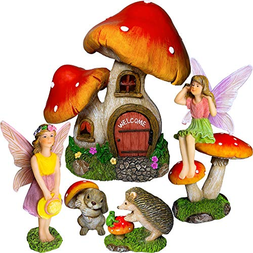 Mood Lab Fairy Garden Miniature Kit - Mushroom House Set of 6 pcs - Figurines and Accessories for Outdoor or House Decor