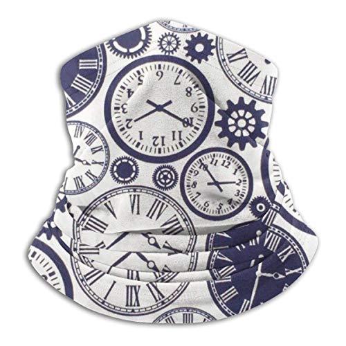 Vintage Steampunk Clock Neck Guêtre Warmer Windproof Scarf Balaclava Outdoor Sports