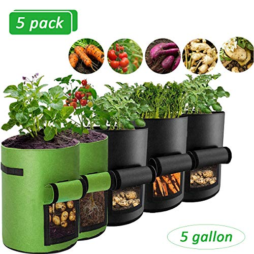 ZHM Potato Grow Bags 5Pcs 5 Gallons, Sturdy Reusable Fabric Grow Bags with Visualization Window and Two Sides Handles to Plant Potato, Taro, Radish, Carrots, Onions, Peanut Vegetables