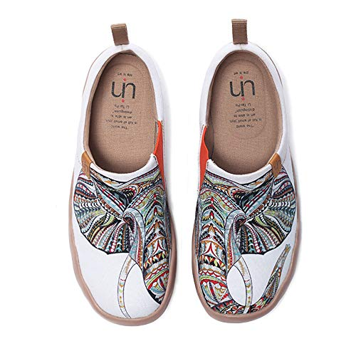 UIN Women's Men Unisex Elephant Painted Canvas Slip-On Fashion Ladies Travel Shoes (8.5)