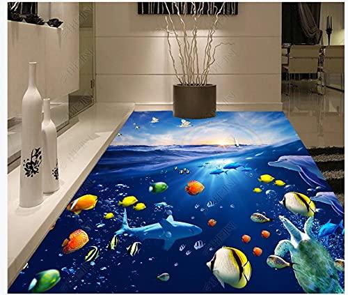 Pintura de piso en 3D Mural Papel tapiz fotográfico Océano submarino peces algas marinas mundo de los delfines Sala de estar Baño PVC Azulejos impermeables Pegatinas Piso 250x175cm