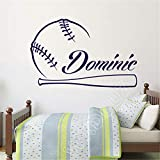 Baseball Game Custom Wall Decal Boy Name Vinyl Sticker Wall Decal Kindergarten Wall Sticker Home Decoration Room Decoration Decal 58x37cm