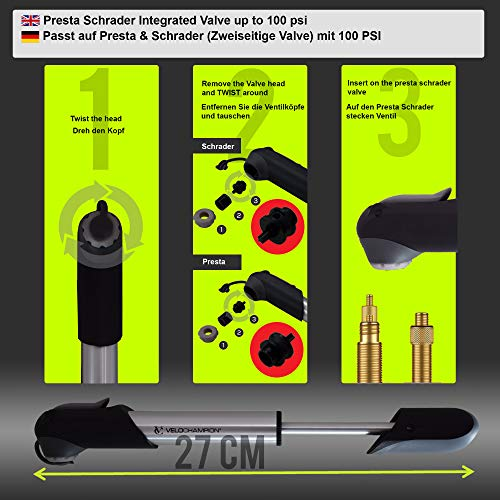 VeloChampion Legierung 7 Kleine Fahrradpumpe – Passt auf Presta & Schrader (Zweiseitige Valve) mit 100 PSI / 6.9 bar Maxer Druck– Tragbar, Kompakt, Langlebig, Schnell Und Einfach Zu Bedienen - 2