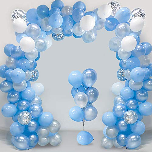 "Metallic Blue Balloons Garland Arch.Also Silver Confetti White Transparent Colors Latex Party Balloons 10"",80 Pack Also Fit for Engagement, Graduation, Birthday, Anniversary,Retirement Parties"
