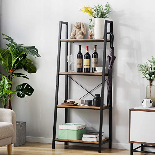 Leisure Zone Retro Ladder Shelf, Bookcase, Metal Frame Bookshelf, Plant and...