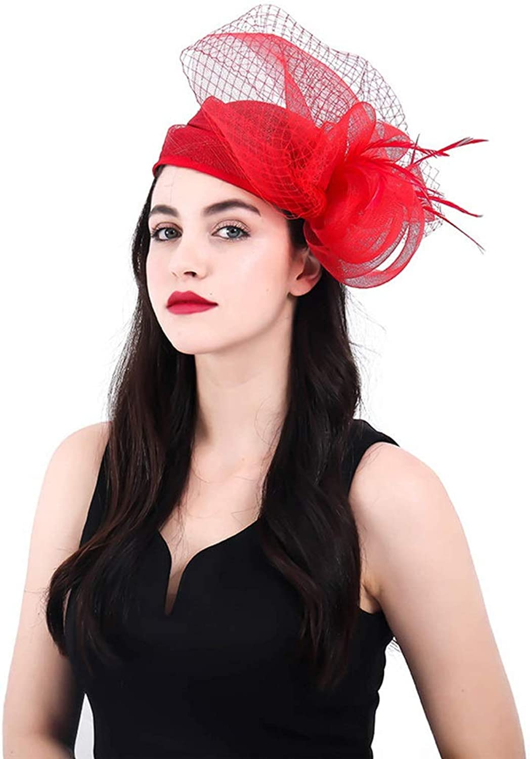 AO Handmade Aristocratic Highend Hemp Tiara Bridal Veil Hair Accessories British Retro Bowler Hat for Female (color   Red)