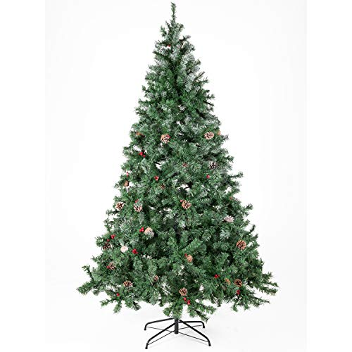 Artificial Christmas Tree Decorated with Pine Cones and Red Berries Unlit/Prelit 5-7.5 FT