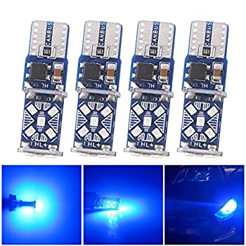 Qasimled 4Pcs Blue T10 W5W Super Bright 15 SMD LED Car Door Lights WY5W 168 501 Auto Turn Signal Bulbs Car Side Marker Interior Reading Dome Lamps DC 12V