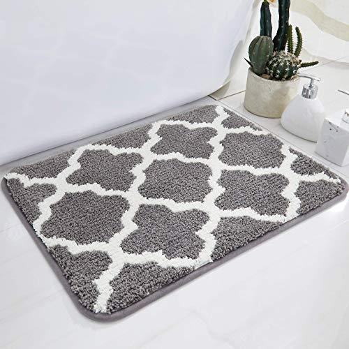 BEQHAUSE Alfombras de baño plateadas para ducha Shaggy suelo extra grueso súper suave mejor absorción, color gris, 50 x 80 cm