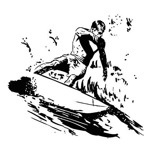 Lamubh Surf calcomanía de Pared baño Ventana Vidrio decoración Surfista Tabla de Surf Vinilo Pegatina habitación de niños 91x84 cm