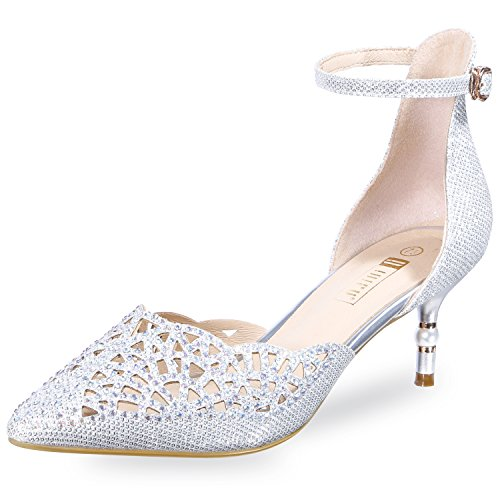 IDIFU Women's Sexy Rhinestones Cut Out Mid Kitten Heels Pumps Shoes with Ankle Strap