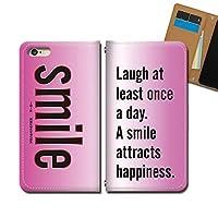 AQUOS sense4 plus SH-M16 ケース スマホケース 手帳型 ベルトなし 英語 名言 smile 笑顔 幸福 手帳ケース カバー バンドなし マグネット式 バンドレス EB313010115701