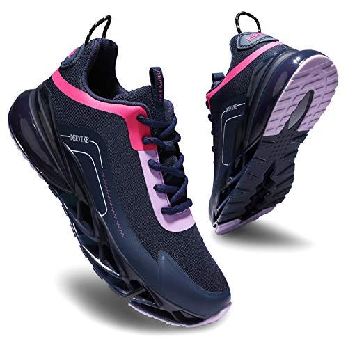 Deevike Laufschuhe Turnschuhe Sneaker Jogging rutschfest Outdoors Sportschuhe Damen Luftkissen Schuhe Blau Lila-35