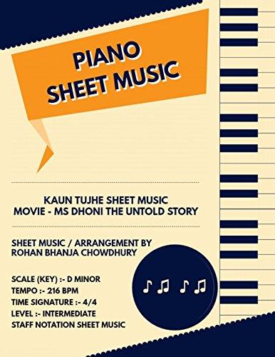 Kaun Tujhe Staff Notation Sheet Music : Bollywood Songs On Piano Staff Notation Sheet Music