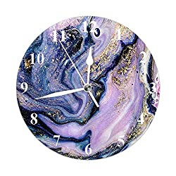 Beabes Marble Pattern Round Wall Clock Marble Abstract Natural Luxury Gold Purple Gouache Painting Silent Non-Ticking Battery Operated Home Wall Clock Decor for Living Room Classroom 10 Inch