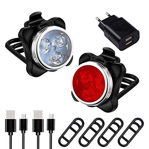 AMANKA Phare Lampe de Vélo Lumière Vélo Rechargeable Avant et Arrière 4 Modes de Luminosité Inclut USB Câble Antichoc Impermeable pour VTT VTC Cycliste Poussette Camping