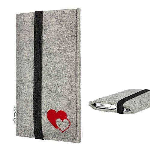 flat.design Handyhülle Coimbra kompatibel mit BlackBerry KEY2 Red Edition Filz Schutz Tasche Hülle passexakte Herzen rot