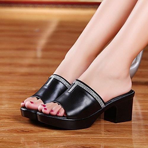 AWXJX Saison d'été Tongs Femme Chaussures Talons moyens diahommets artificiels en simili cuir épais avec