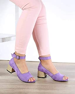 Lila Süet Bilek Bağlı Kalın Topuk Kadın Ayakkabı