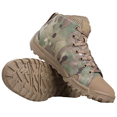 FREE SOLDIER Herren Army Stiefel Tactical Lace Up Camo Ankle Sneaker mit Gummi zum Wandern, Laufen, Outdoor Sports Atmungsaktive und leichte Arbeitsschuhe(Tarnung Mid-Schuh,EU 41)