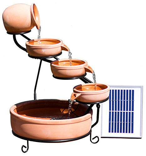 Primrose Etna Solar Ceramic Cascade Garden Water Feature with Battery Backup and LED Lights by Solaray