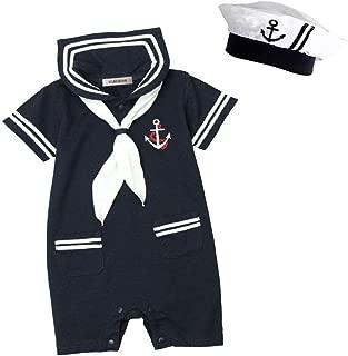 Baby Boy Marine Sailor Costume Short Sleeve Romper Onesie with Hat 2 pcs Set