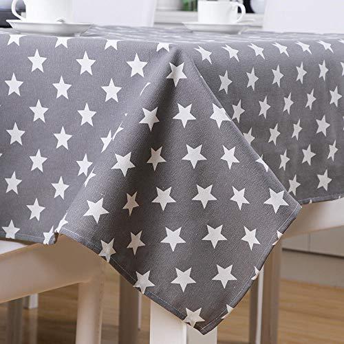 S&shan Manteles, Mantel Moderno Minimalista con Estampado de Estrellas, Mantel de Tela, Mantel, Gris, 140 * 140 cm