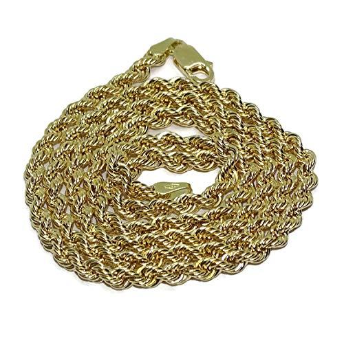 Never Say Never Cordón de Oro Amarillo de 18k de 4mm de Ancho y 60cm de Largo. Cierre mosquetón para máxima Seguridad Peso, 13.50gr de Oro de 18K