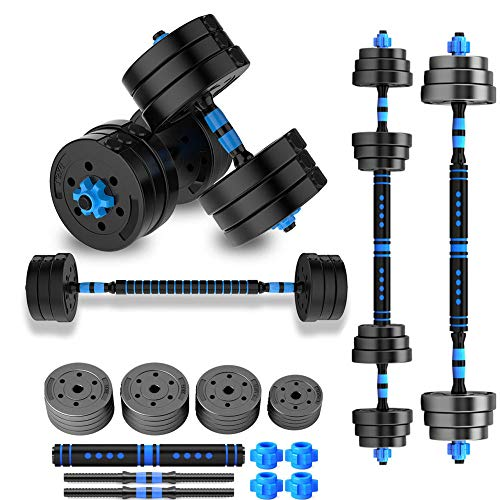 2 in 1 Adjustable Weights Dumbbell Set Free Weights Dumbbells with Connecting Rod Lifting Dumbbells Used As Barbell for Whole Body Workout Home Gym 2 Pair/Set,10kg