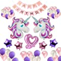 AKINGSHOP Unicorn Party Supplies,Unicorn Balloons,Happy Birthday Banner,unicorn birthday party decorations set,Birthday Party Supplies for Kids Birthday Decorations (33 PCS)