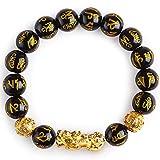 Bracelet en Pierre Pierre Naturelle Obsidienne Noire Bracelet Feng Shui 12mm Golden Pi Xiu Bracelet Amulette Noire Bracelet Lucky Wealth Bijou Bracelet Élastique Semi-Précieux Perle Ronde