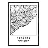 Nacnic Toronto Film Stadtplan nordischen Stil schwarz und