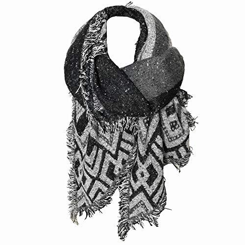 Glamexx24 XXL lange sjaal, XXL sjaal lichte gezellige sjaal, warme poncho en oversized sjaal zachte kwaliteit in verschillende patronen