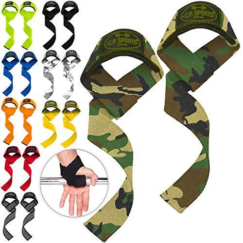 C.P. Sports Tirantes de 60 cm (Acolchados) para Fitness, musculación y Entrenamiento de Fuerza - para Hombres y Mujeres (Blanco Camuflaje)