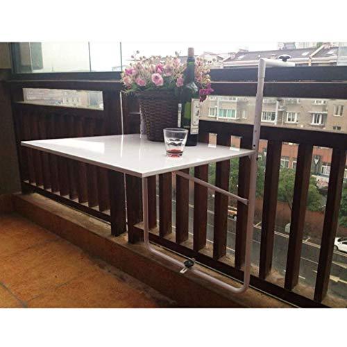 Aan de muur bevestigde vloer table Klaptafel Balkon wand-, tuin salontafel, terras reling tafel - verstelbare, in hoogte verstelbare tuintafel, wit laptop bureau