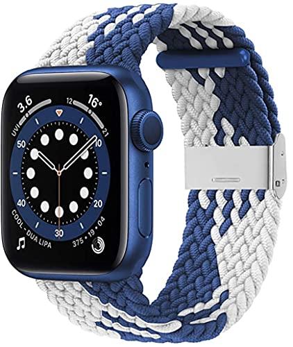 Pulseira para Apple Watch 38 mm, 40 mm, 42 mm, 44 mm, SE trançadas Correia elástica ajustável série 6/SE/5/4/3/2/1 com fivelas (Branco/azul 42/44mm)