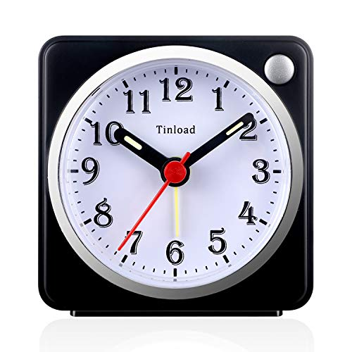 Tinload Small Analog Travel Alarm Clock Silent Non Ticking,Snooze,Ascending Beep Sounds, Battery Operated,Light Functions, Easy Set (Black)