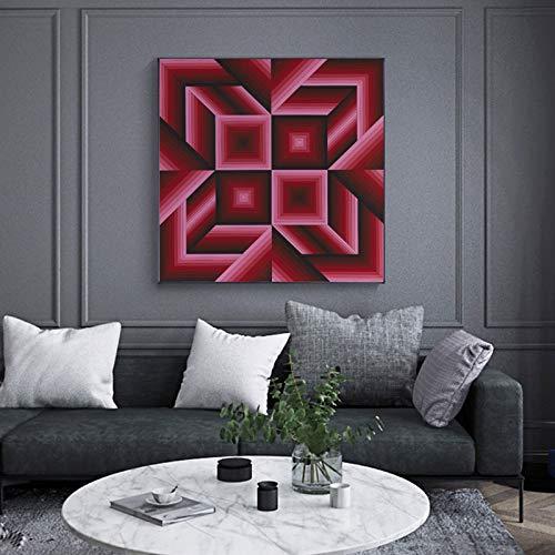 N / A Kein Rahmen Victor VASARELY Poster Geometrie Abstrakte Leinwand ng Wanddekorative Kunst Bilder für Wohnzimmer Cuadros Home Decor Square