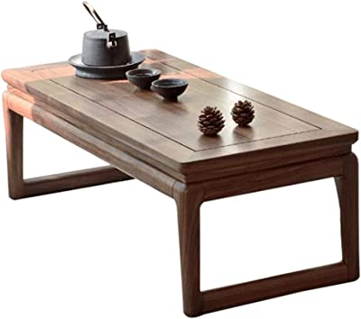 Coffee Tables Tables Square Household Tatami Solid Wood Table Living Room Short Tea Table Balcony Bay Window Table Simple (Color : Brown, Size : 80 * 35 * 26cm)