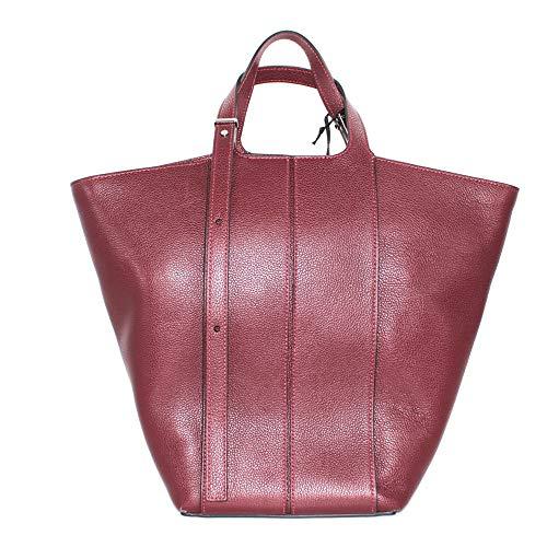 Gianni Chiarini - Bolso de mujer de color burdeos de piel martillada, compartimento, bolsillos interiores y asa ajustable. BS 7317. Biosaborse